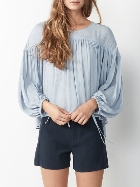 Blue Balloon Sleeve Rayon Crew Neck Blouse