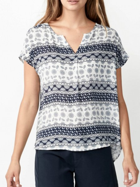 Navy Blue Tribal Resort Blouse