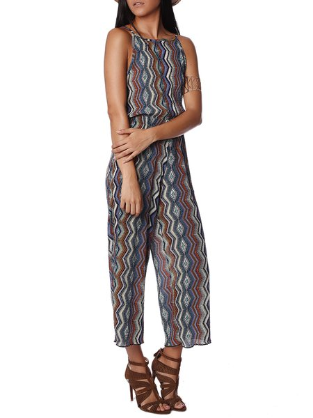 Green Printed Tribal Resort Jumpsuit