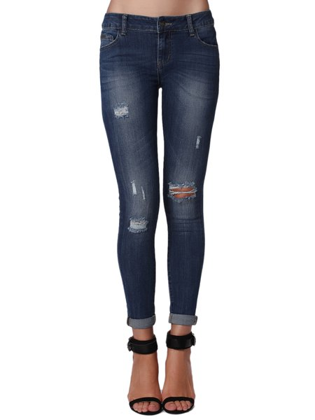 Dark Blue Ripped Casual Skinny Leg Pant