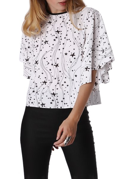 Crew Neck Geometric Batwing Casual Blouse
