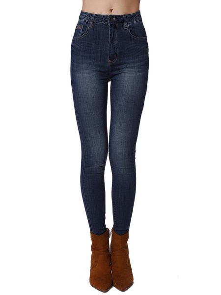 Dark Blue H-line Plain Cotton-blend Casual Skinny Leg Pant
