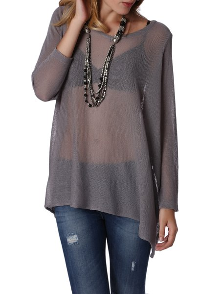 Gray Long Sleeve Viscose Knitted Bateau/boat Neck Sweater