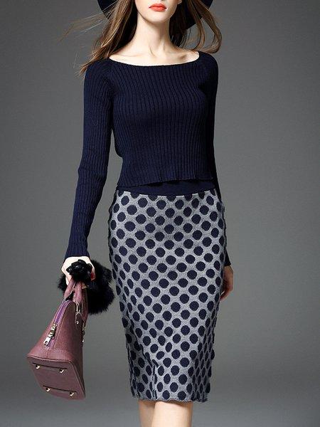 Navy Blue Long Sleeve Two Piece Polka Dots Midi Dress