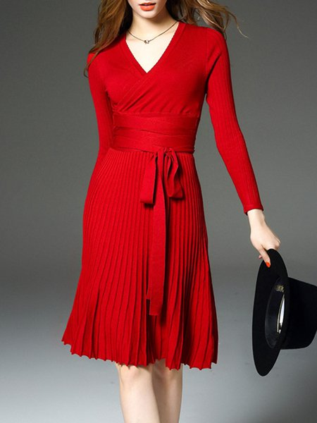 Red Elegant Pleated Surplice Neck Solid Wrap Dress