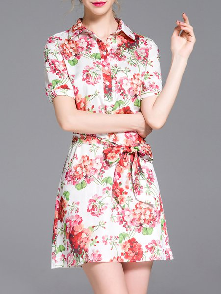 Red Floral-print A-line Cotton-blend Short Sleeve Shirt Dress