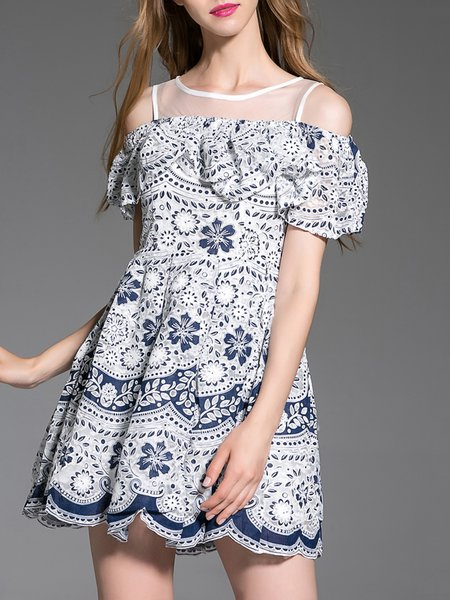 Navy Blue A-line Cold Shoulder Floral Girly Mini Dress