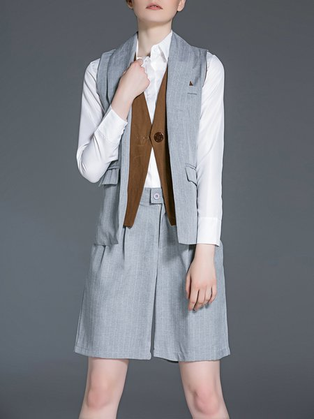 Three-piece Gray Shirt Collar Long Sleeve Cotton-blend Romper