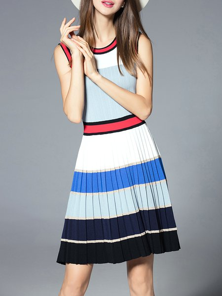 Multicolor Stripes Knitted Casual Midi Dress