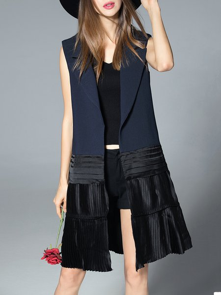 H-line Elegant Sleeveless Polyester Pleated Vests