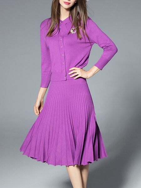 Knitted Long Sleeve Casual Two Piece Midi Dress