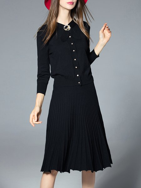 Black Long Sleeve Two Piece Crew Neck Knitted Midi Dress