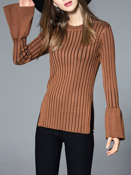 Camel Long Sleeve Crew Neck Stripes Knitted Sweater