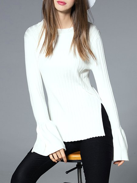 White Knitted Crew Neck Long Sleeve Stripes Sweater