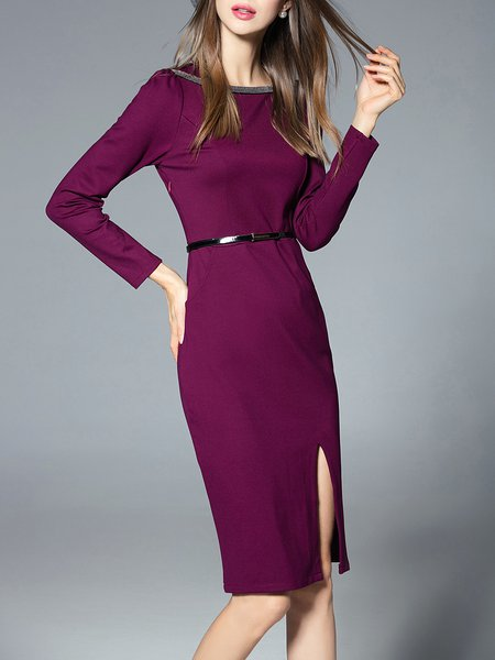 Purple Long Sleeve Slit Midi Dress