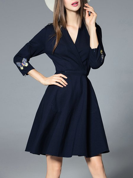 Navy Blue Embroidered 3/4 Sleeve Wrap Dress