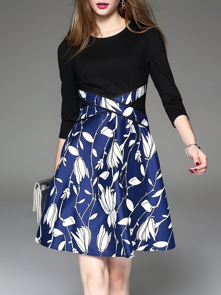 Black Elegant Floral-print Midi Dress