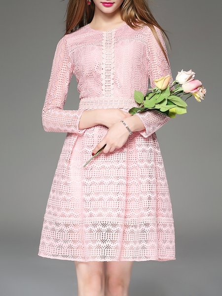 Pink Girly Guipure Lace Mini Dress