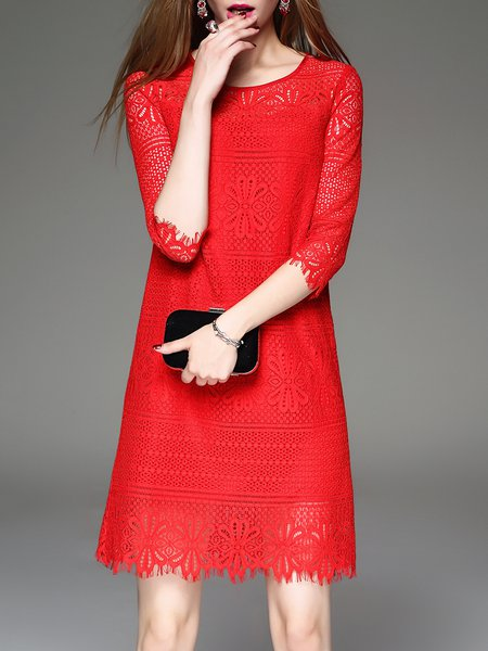 Red Floral Elegant Guipure Lace Mini Dress