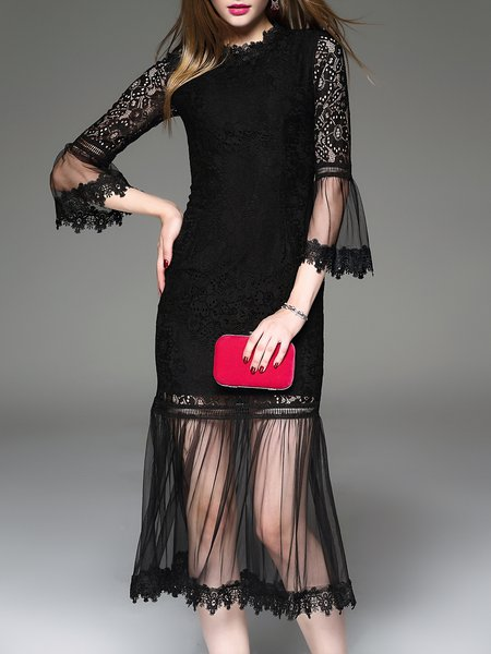 Mermaid Frill Sleeve Mesh Elegant Guipure Lace Midi Dress