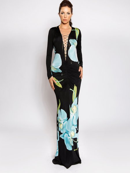 Black Backless Plunging Neck Ruched Sexy Floral-print Maxi Dress