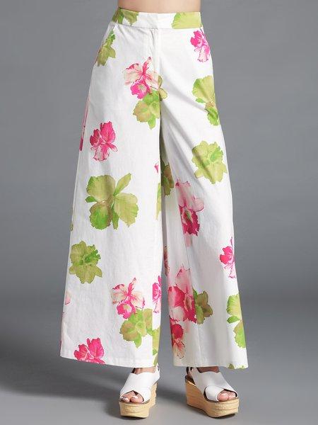 White Elegant Floral-print H-line Wide Leg Pant