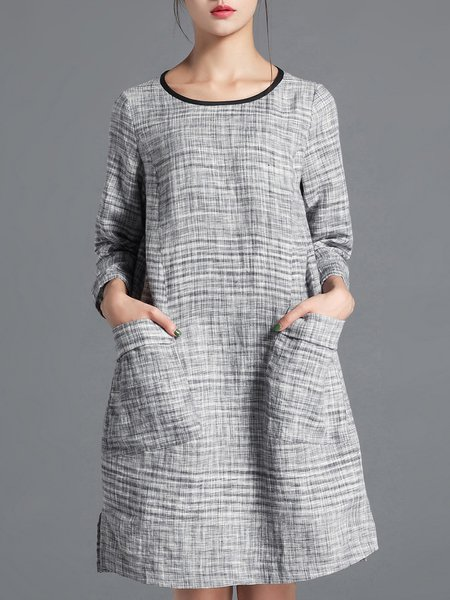 3/4 Sleeve H-line Pockets Elegant Midi Dress