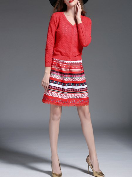 Knitting Cotton blend Skirt and Cardigan