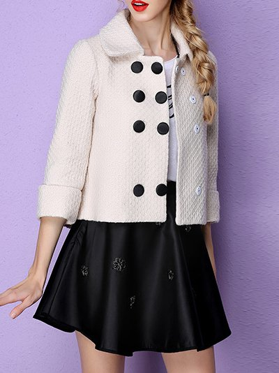 Apricot Wool Casual Buttoned Plain Cropped Jacket