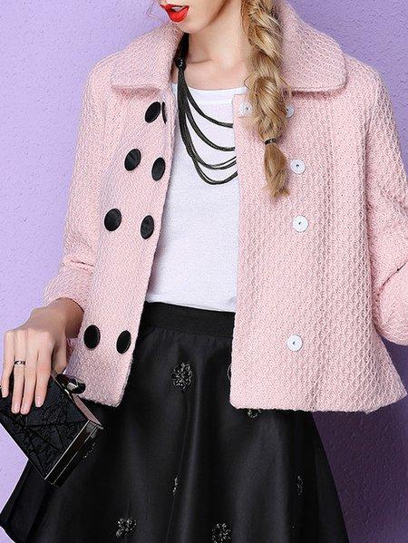 Pink Lapel Plain 3/4 Sleeve Cropped Jacket