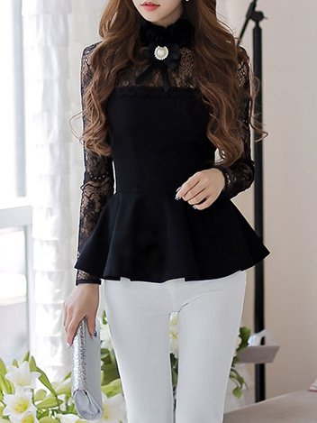 Black Sweet Pierced Long Sleeved Top