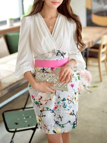 Printed Elegant 3/4 Sleeve V Neck Mini Dress