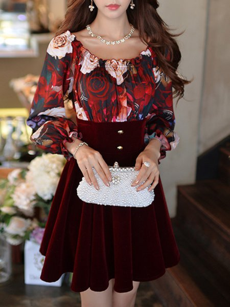 Girly A-line Off Shoulder Frill Sleeve Floral Printed Mini Dress