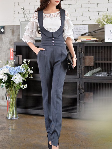 Gray Polyester Sweet Buttoned Bodycon Jumpsuit