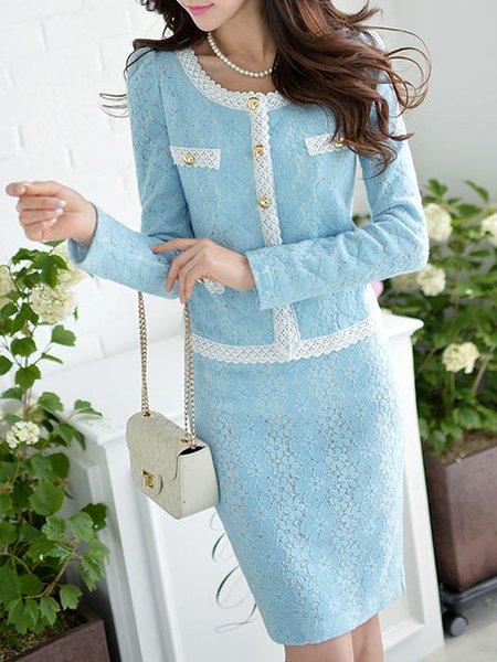 Light Blue Paneled Long Sleeve Lace Cropped Jacket
