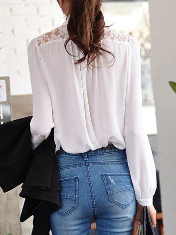 White Bow Long Sleeve Chiffon Shirt - StyleWe.com