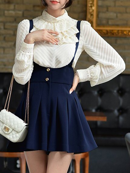 Apricot Turtleneck Shift Polyester Long Sleeve Shirt