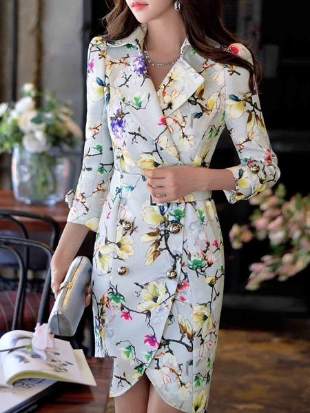 Printed Polyester Floral Long Sleeve Sweet Long Coat
