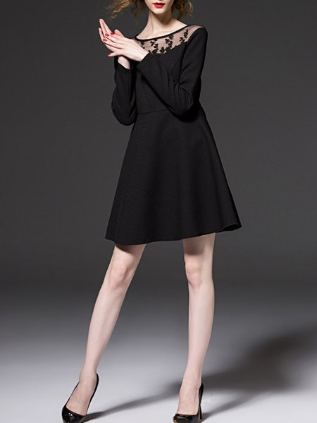 Black Long Sleeve Polyester A-line Paneled Mini Dress
