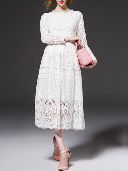 White Floral Pierced Long Sleeve Stand Collar Midi Dress