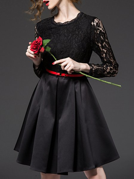 Black A-line Paneled Long Sleeve Polyester Midi Dress