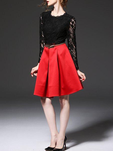 Multicolor Long Sleeve Polyester Paneled A-line Midi Dress