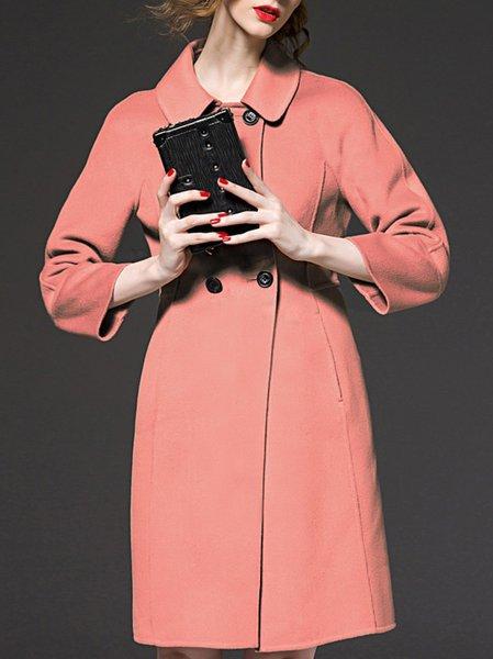 Pink Long Sleeve Paneled V Neck Long Coat