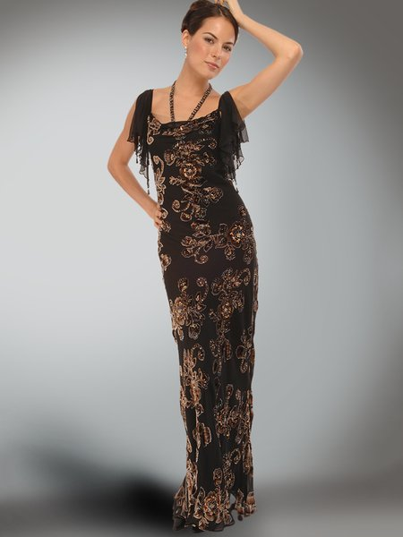 Brown Square Neck Frill Sleeve Floral Rayon Evening Dress