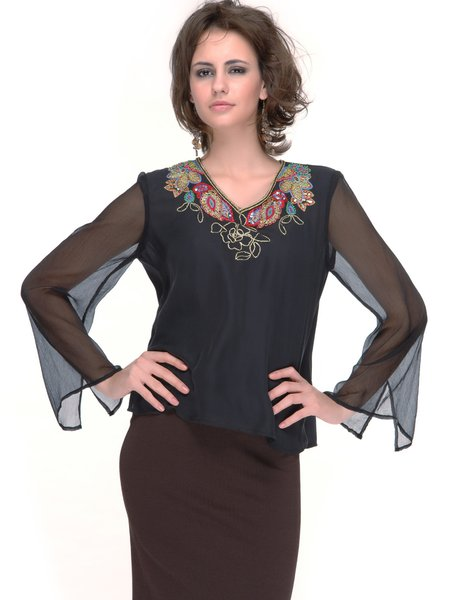 Elegant Long Sleeve Embroidered Blouse