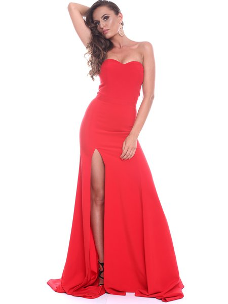 Red A-line Elegant Slit Strapless Evening Dress