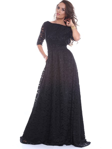 Black Half Sleeve Guipure Lace Evening Dress