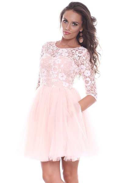 Pink Guipure Lace Long Sleeve A-line Mini Dress