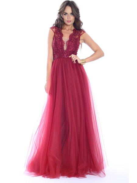 Burgundy Floral Short Sleeve Paneled Evening Dress