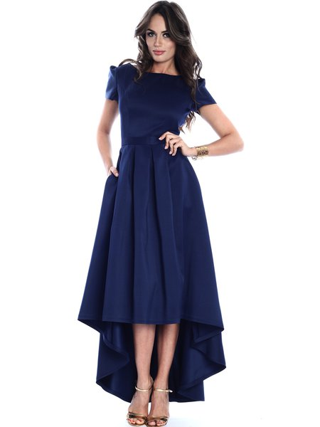 Navy Blue High Low Elegant Gathered Crew Neck Midi Dress